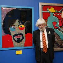 Martin Sharp in the exhibition space at the Martin Sharp Launch