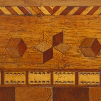 Close detail of inlaid table top.