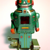 "A green tin  ""Mighty Robot"" made in Japan"
