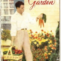 Illustrated cover of booklet showing man holding basket of vegetables in right hand and bunch of carrots in left hand.