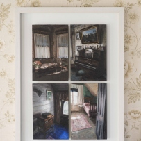 Framed series of four small oil paintings depicting the drawing room  and upstairs bedroom at Meroogal