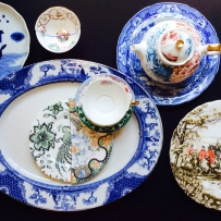 Antique blue and white transferware ceramics with contemporary 'Hybrid' porcelain ware by Seletti.