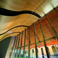 View from The Mint auditorium through the louvres to the internal courtyard