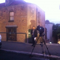 Weather man Stevie Jacobs outside of  Susannah Place Museum