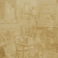 Sepia toned photograph of drawing room interior.