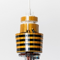 Close-up of Sydney Tower model in LEGO.