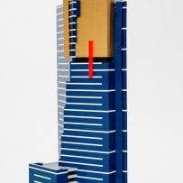 Close-up of Eureka Tower model in LEGO.