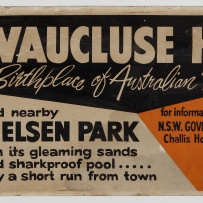 Poster showing Vaulcluse House with text that reads: Visit.. Vaucluse House and nearby Nielsen Park.
