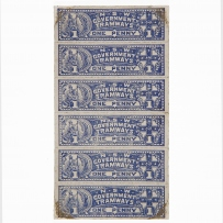 Book of blue and white coloured tram tickets.