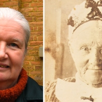 Combined photo portrait featuring contemporary image of woman and historic photo of an older woman wearing a floral decorated hat and lace collar.