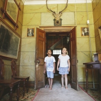 Children in the front hall of Rouse Hill House