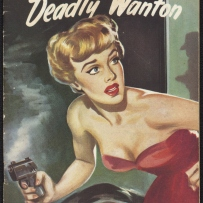 Lady in a red strapless dress looks wide eyed towards the shadow of a man in a cot and hat. She holds a smoking pistol.