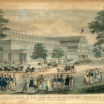 Painting showing lots of people around the big Crystal Palace building and some large trees