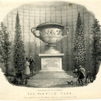 A drawing of the 2nd century Roman 'Warwick Vase'. It depicts the large vase in the centre, some trees either side of it and a few people around the base.