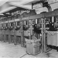 Row of electrical batteries.