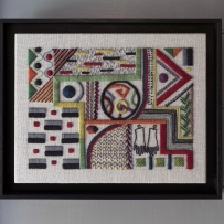 Rectangular framed embroidery.