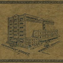 Illustration of W W Campbell & Co's city store. The background has yellowed.