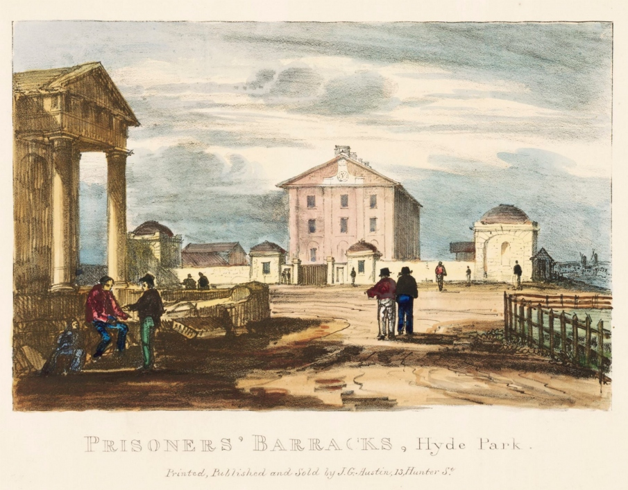 View of Hyde Park Barracks in 1836