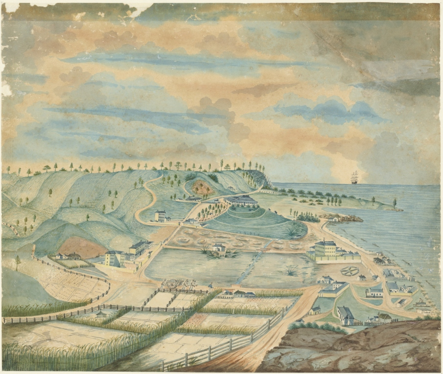Watercolour depiction of Norfolk Island settlement with convict buildings and agricultural land