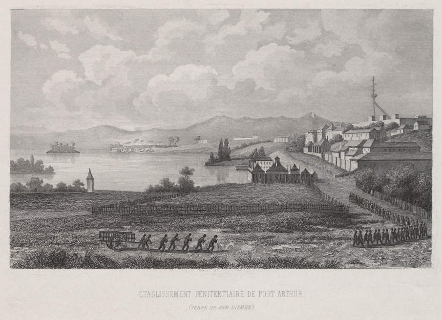 Engraving of Port Arthur settlement depicting convict buildings and working convicts