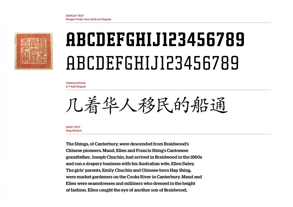 This is a digitally rendered image of different fonts used in the exhibition. It shows the heading font of Morgan Poster, the Chinese characters in S T Kaiti regular and body text for labels and theme panels in Stag medium