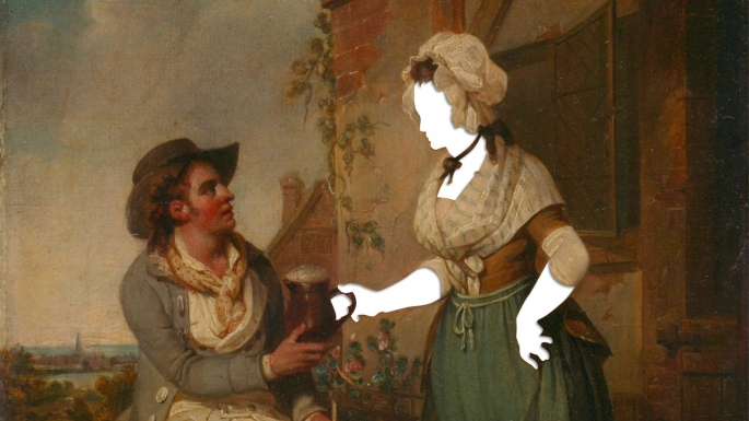 Painting with face and hand of woman cut out to represent mystery.