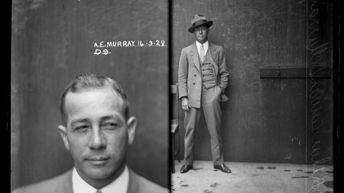 Split mugshot - head and shoulders on left, full length on right, of man in suit and tie. Right hand photo shows him with hat also.