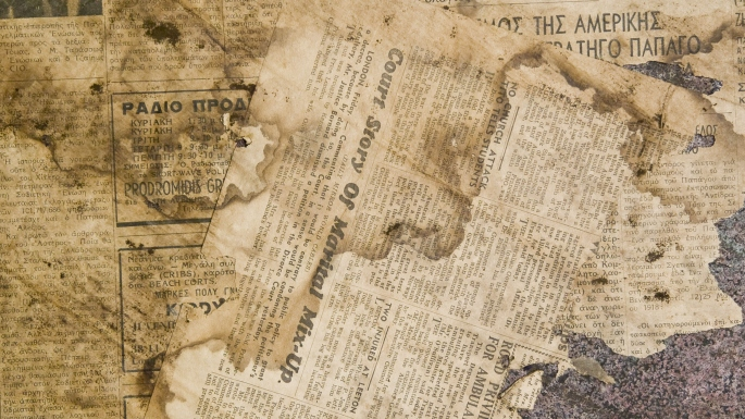 Fragment of Greek American Tribune newspaper, dated 12 July 1946, found under lino in kitchen of terrace number 60, Susannah Place.