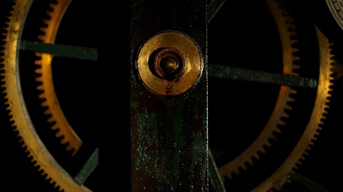 Close up of clock mechanism.