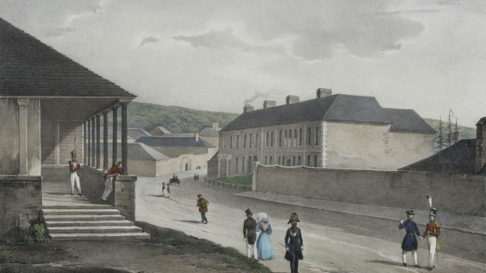 Lithograph showing lower end of George St looking north. Redcoats and townsfolk can be seen milling around.