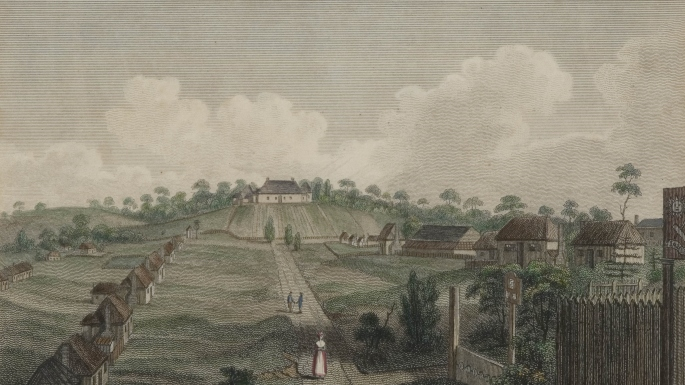 Rows of cottages on either side of George Street parramatta leading up to Government House on a hill