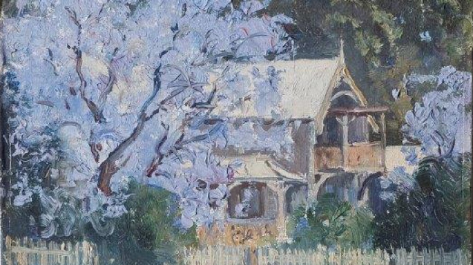Oil painting of jacaranda tree in full bloom outside wooden house.