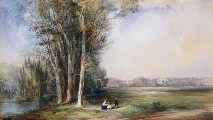 A colonial landscape painting showing grassy paddocks and a river with large overhanging trees in the foreground and a woman and two young children. In the background, perched on a small hill is a single storey farmhouse facing back across the fields.