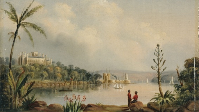 A painted scene of a tranquil bay, bordered with a lush garden of palm trees and shrubs and 2 people talking inthe forground overlooking a large house on a headland opposite and castle-like building on peninsula.