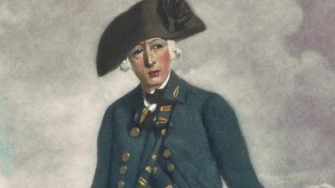 Head and shoulders of man in bicorn hat.