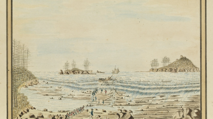 Watercolour drawing of a rough and rocky beach with several men pulling a rope attached to a wrecked and half sunken ship. In the water is broken masts and spars and a number of rowing boats attending the disaster.