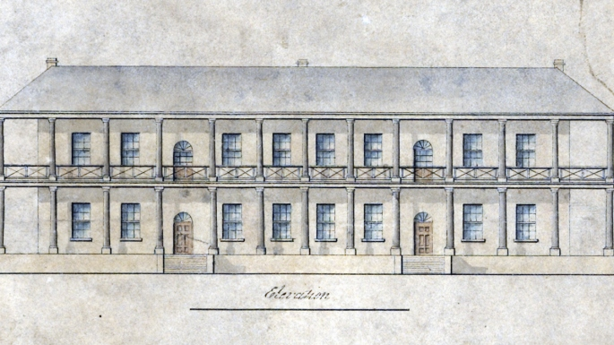 Drawing of front elevation of the Mint front building.