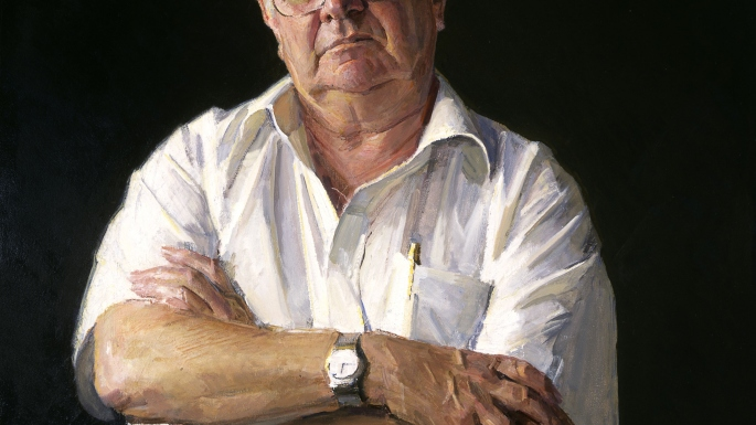 Painting of man with silver hair and glasses, in white shirt with sleeves rolled up, looking directly at painter.