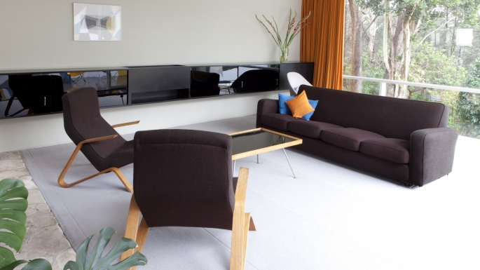 Interior with modernist furniture