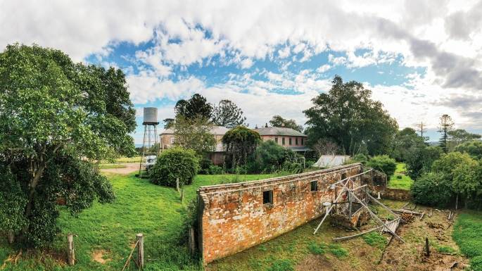 Panoramic view across sunlit bricks of wall and house and garden.