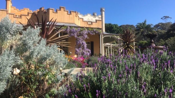 The view through the fountain garden at Vaucluse house in Spring is very colourful
