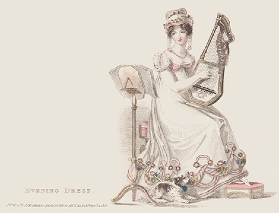 Tinted print of woman seated with musical instrument and music stand.