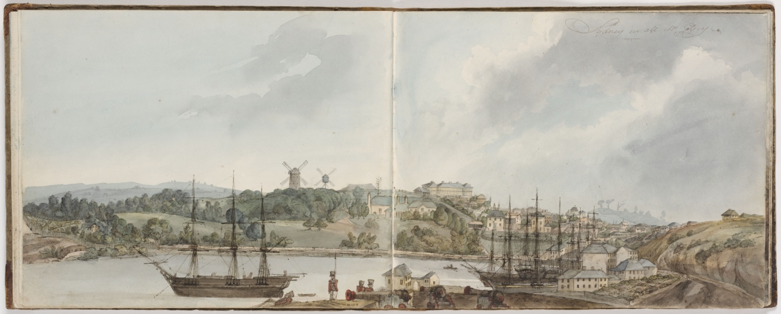 water colour painting in sketchbook showing sweeping views cross Sydney cove, past ships and water craft and docks through to the colonial town of sydeny and up to ridge beyond.