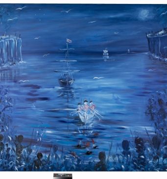 """Painting showing a small boat rowing into the shore from the point of view of the shore. The painting is predominately blue and white with touches of red. It is signed """"SYRON"""" in the lower right corner and dated """"1999."""" in the lower left corner."""