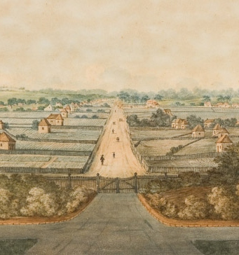 George Street, Parramatta from the gates of Government House (c1805)