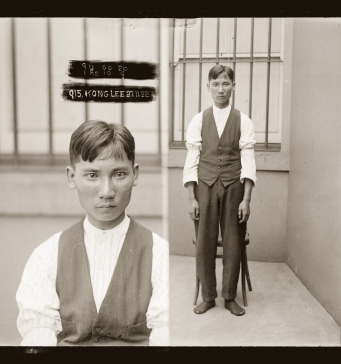 Black and white mugshot of man against barred window, left hand side image closeup, right hand side image full standing shot.