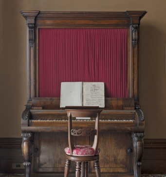 Piano and chair in the drawing room, Elizabeth Bay House