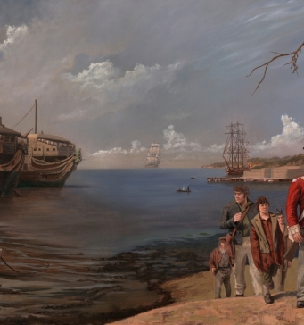 Mural depicting arrival of convicts on right with prison hulk back in England on left.