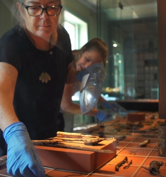 Jenny from our collections team is leaning into a showcase to remove an object