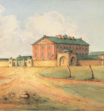 Painting of Hyde Park baracks from south western courner shortly after construction with two men in front. It looks dry and there are no trees.